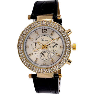 GENEVA BRAND CHRONOGRAPH STYLED WOMEN'S WRIST WATCH - BLACK