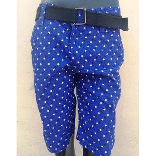 Printed Men's Half Pant Shorts Knicker Cotton Branded w/ Belt- Blue