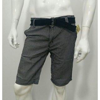Printed Men's Half Pant Shorts Knicker Cotton Branded w/ Belt- Black