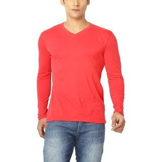 Joke Tees Solid Men's Perfect Vee Long T-Shirt(Red)