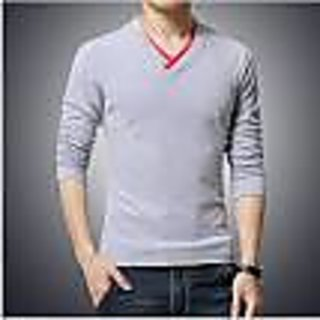V-neck full sleeve t-shirt with red v-neck