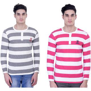 John Caballo Men's Round Neck Full Sleeve T-Shirt Combo Pack of 2-Multicolor