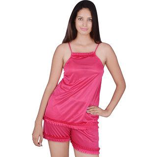 Kanika Women Satin Top  Short-Pink