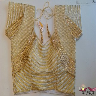Gorgeous heavy fancy diamond  moti work  blouse with fancy lum