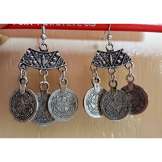 Splendid Brass Jaipur Jewels Antique Silver Oxidized Full Ear Earrings Earcuff for girls navratri jewellery for women