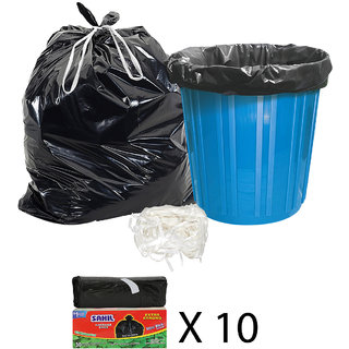 Sahil Pack of 10 Black Biodegradable Tie String Garbage Bags (300 pcs)