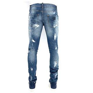 Mens Blue White Jeans