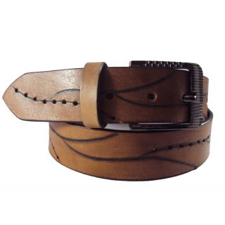 National Leathers Tan Antic Leather Belt For Men's