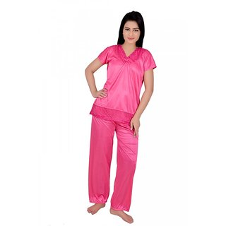 Kanika Women Satin Top  Payjama Set-Pink