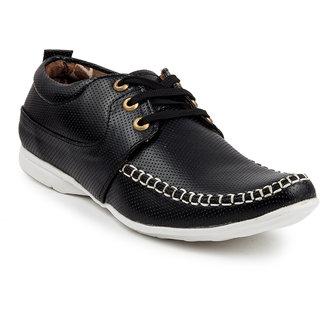 Golden Sparrow Mens Black Lace-up Casual Shoes