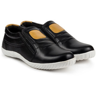 Golden Sparrow Mens Black Slip on Casual Shoes