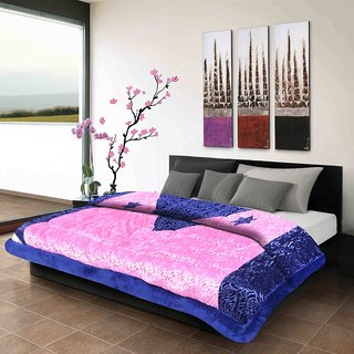 Titos Pink Embossed Double Bed Quilt