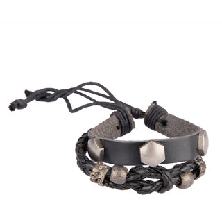 Diva Walk black leather bracelet-00948