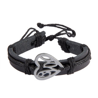 Diva Walk black leather bracelet-00962
