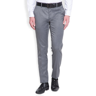 Black Coffee Gray Slim Fit Mid Rise Formal Trouser For Men