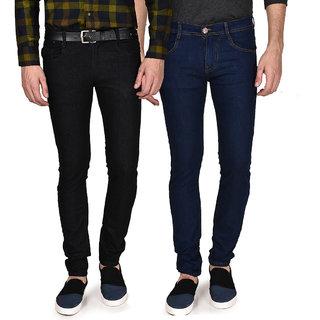 Routeen Mens Black & Blue Regular Fit Jeans