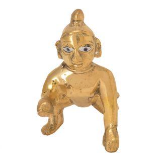 Classic Auspicious Handicraft Idol of Lord Krishna Decorative Brass Piece by Bharat Haat BH05698