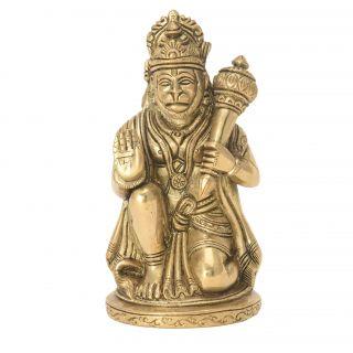 Hanuman Brass Small Decorative Worshipping  Handicraft Idol by Bharat haat BH05726
