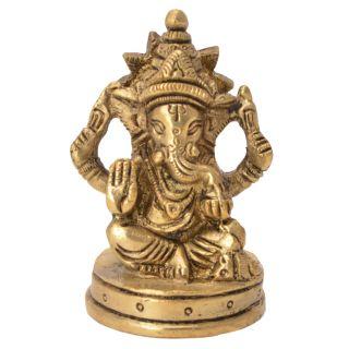Elegant & Beautiful Sitting Ganesha Handicraft Solid Metal Brass by Bharat Haat BH05742