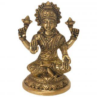 Gorgeous Brass Statue of Hindu Goddess Lakshmi by Bharat Haat BH05746
