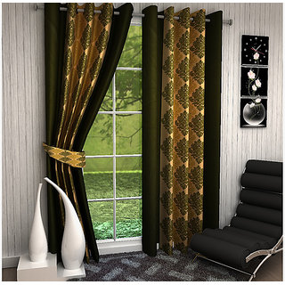 Home Luxurious 2 Piece New Premium Designer Curtains ( Size - Length 5Ft Width 4ft )