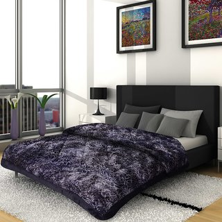 Titos Black Grey Embossed Double bed Quilt