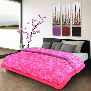 Titos Pink Soft Embossed Double Bed Quilt