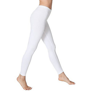 White Full Length Cotton Lycra Legging