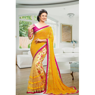 Rjcreation Designer Party wear New  Stylish Women's Printed Geogrette Saree With Blouse (YellowFree Size)