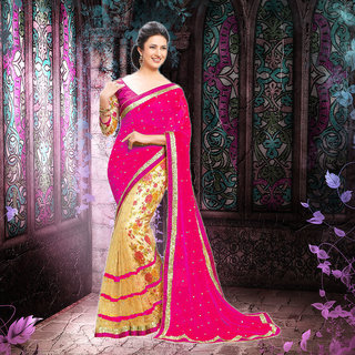 Rjcreation Designer Party wear New  Stylish Women's Printed Geogrette Saree With Blouse (PinkFree Size)