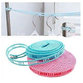 3.5 Meter Drying Cloths Line Anti Slip Retractable Hanging Hook Rope