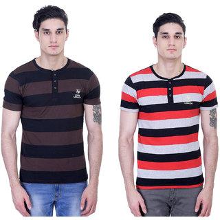 John Caballo Men's Round Neck Half Sleeve T-Shirt Combo Pack of 2-Multicolor