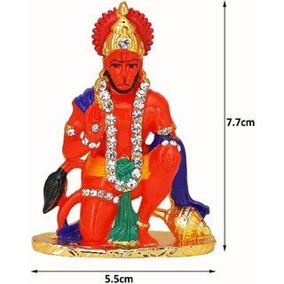 Shri Hanuman Bajrangbali Orange Idol Divinity Shrine Deity for Car, Home and Office Use
