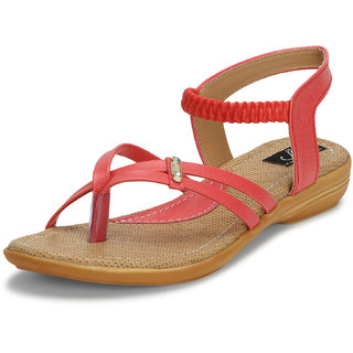 Jayn Martin Red And Beige Flat Sandals