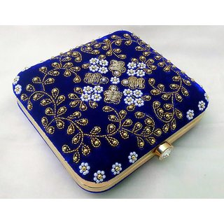 Ishitaa Collection Women's Party Clutch Blue purse
