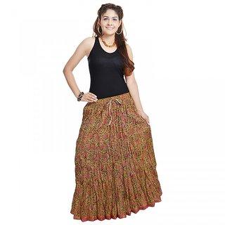 Shree Fashion Art Ethnic Multi Floral Green Cotton Skirt