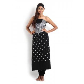Black Cotton Kurta with Kantha Work