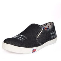 Blue Pop Men Black Slip On Casual Shoes