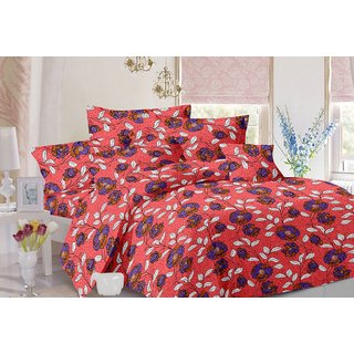 Valtellina Floral Design Peach Colour Cotton Double Bed Sheet with 2 Pillow Cover - TC-140