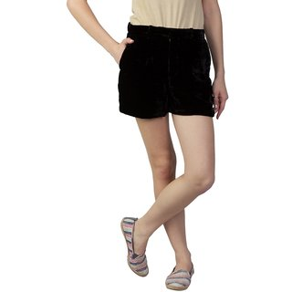 Fripperry Women's Black Suede Shorts