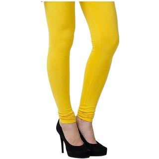 Women's Cotton Blended Churidar Leggings - Yellow