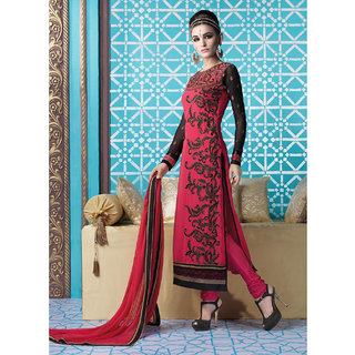 Ladyview Dark Pink  Black Embroidered Georgette Straight Suit