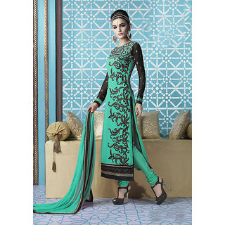 Ladyview Olive Green  Black Embroidered Georgette Straight Suit