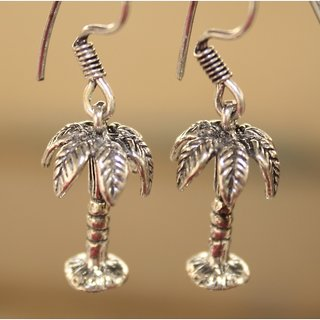 Black Metal Coconut Tree Style Earrings