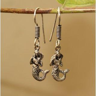 Black Metal Mermaid Earrings