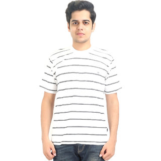Go-On White Round Neck Half Sleeve T-Shirt For Men'S