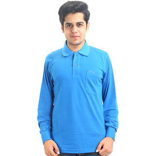 Go-On Blue Polo Neck Long Sleeve T-Shirt For Men'S