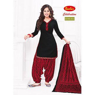 celebrations womens cotton patiyala dress material (red black free size)