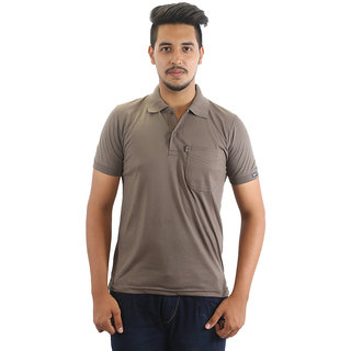 Go-On Brown Polo Neck Half Sleeve T-Shirt For Men'S