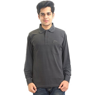 Go-On Gray Polo Neck Long Sleeve T-Shirt For Men'S